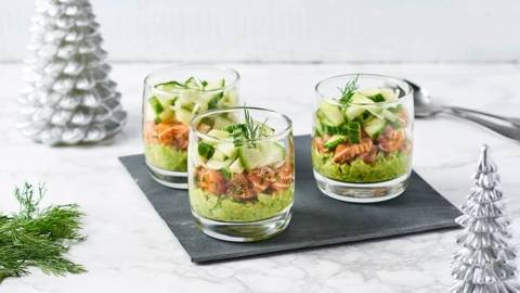Verrines de tartare de saumon