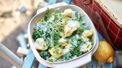 Tortelloni ricotta-épinards aux légumes verts