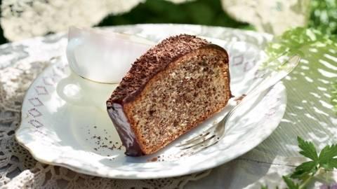 Cake stracciatella nappé au chocolat