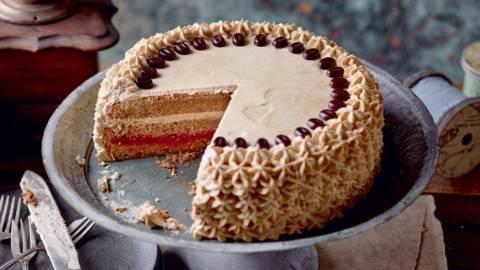 Gâteau au café et aux framboises