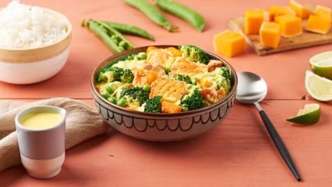 Curry de saumon au lait de coco et courge