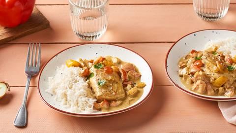 Cocotte de cabillaud, poivrons et curry