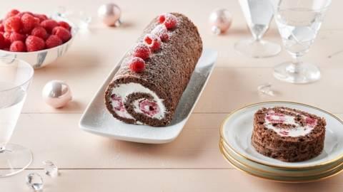 Roulé de chocolat glacé aux framboises
