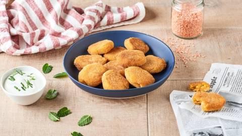 Nuggets de patates douces, lentilles corail et sauce blanche aux fines herbes