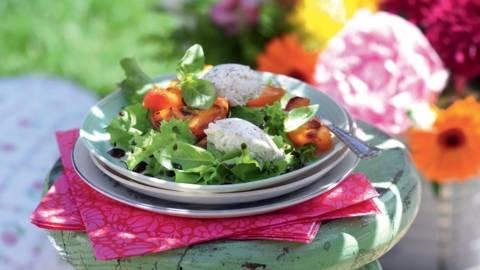 Salade aux abricots rôtis et basilic