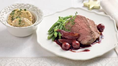 Filet de bœuf, sauce aux cerises et Porto