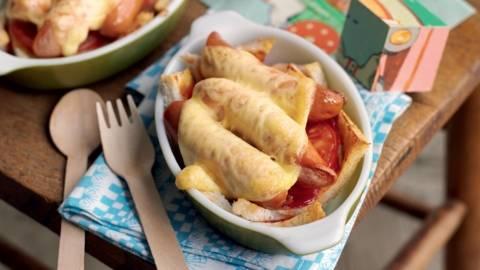 Saucisses gratinées et tomate