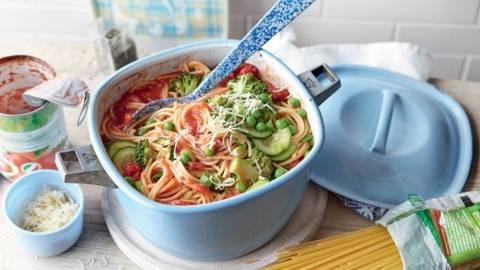 Spaghetti aux légumes du jardin