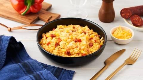 Risotto aux poivrons, chorizo et maïs