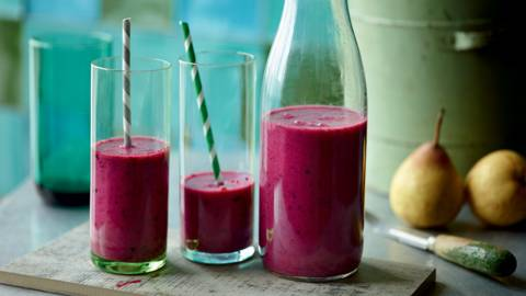 Smoothie fruits rouges et poires