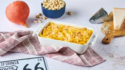 Mac and cheese au potimarron et noix de cajou