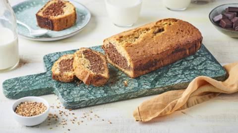 Cake marbré vanille, chocolat et praliné