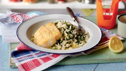 Risotto aux épinards et filet de poisson poêlé