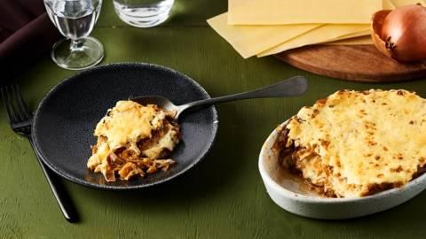 Lasagnes blanches butternut, oignons caramélisés et girolles