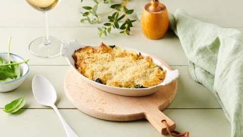 Petit gratin de ravioles aux épinards et parmesan