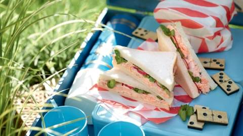 Club sandwich radis-truite-cresson