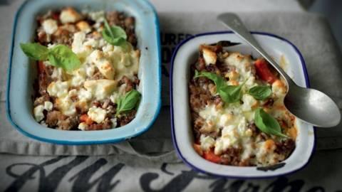 Gratin de viande hachée, carottes et feta
