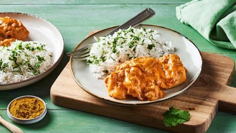Cabillaud au curry et son riz à la coriandre