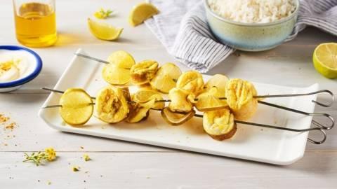 Brochettes de filet de carrelet au curry