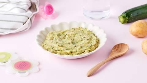 Purée de courgettes, pommes de terre et veau