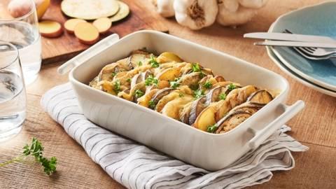 Tian de pommes de terre, aubergines et maroilles