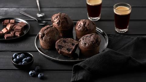 Muffins chocolat noir et myrtilles
