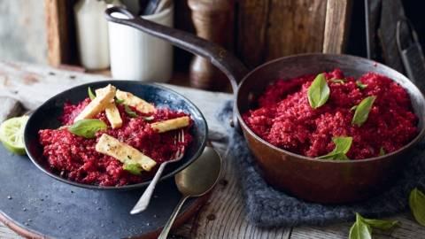 Quinoa à la betterave et au tofu