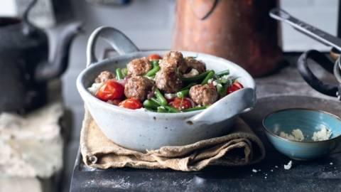 Poêlée de légumes et boulettes de viande