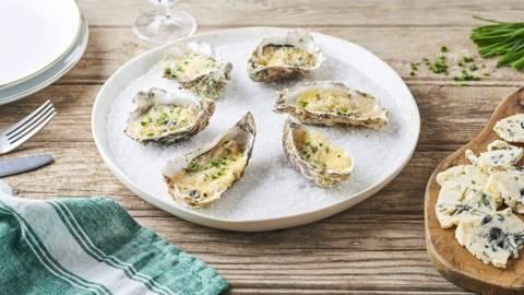 Huîtres gratinées au Roquefort