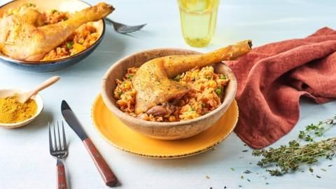 Riz jollof et cuisse de poulet