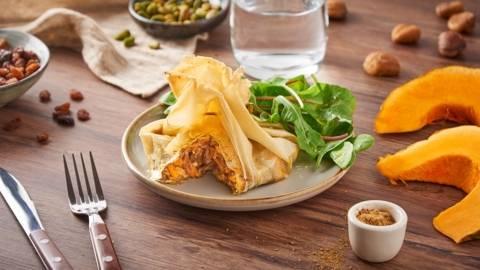Pastilla de potimarron, champignons et châtaignes