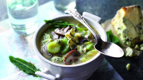 Soupe aux poireaux, champignons et gorgonzola