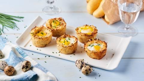 Nid de Pâques en pommes de terre, œuf et ciboulette