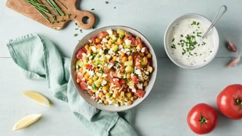 Salade de pois chiches grillés, poivrons et feta