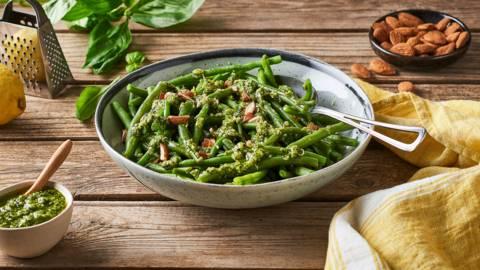 Haricots verts au pesto de basilic