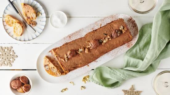 Bûche de foie gras, marrons et chocolat