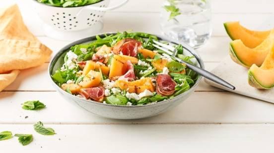Salade de melon grillé à la coppa et roquette