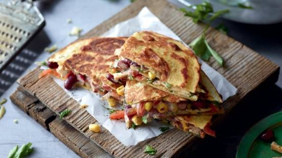 Quesadillas au thon et haricots rouges