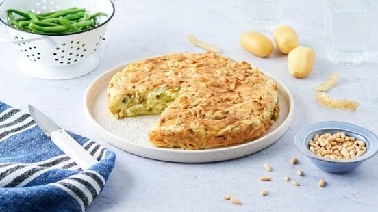 Gâteau de pommes de terre et haricots verts