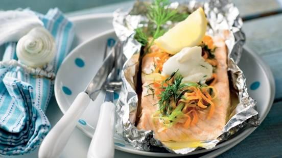 Papillote de saumon aux légumes