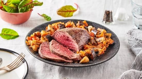 Filet de bœuf et ses légumes grillés