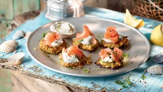 Mini galettes de légumes et saumon