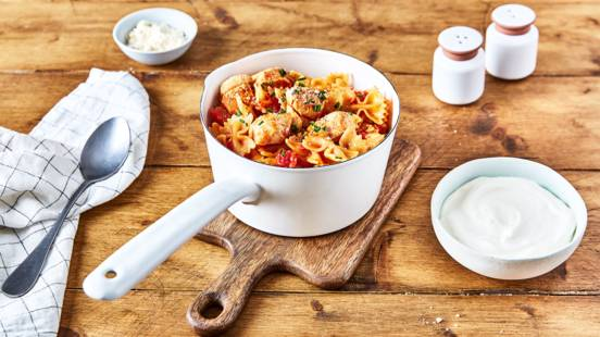 One pot pasta au poulet (sauce au fromage)