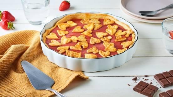 Tarte cœur pomme-fraise et chocolat