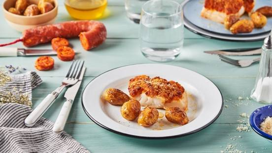 Cabillaud en croûte de chorizo et parmesan