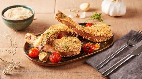 Côtes d'agneau panées au quinoa