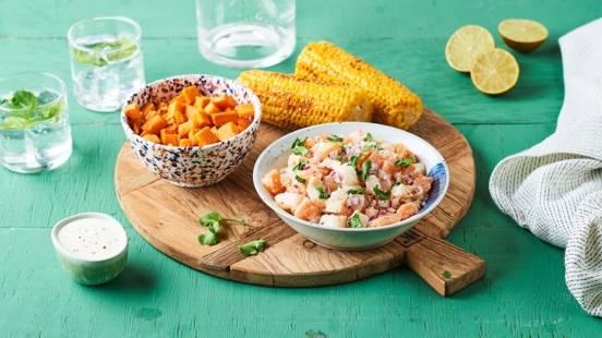 Ceviche aux deux poissons et sauce au yaourt