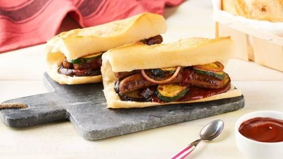 Sandwich merguez grillées et petits légumes