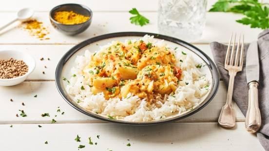 Dos de cabillaud curry et lait de coco