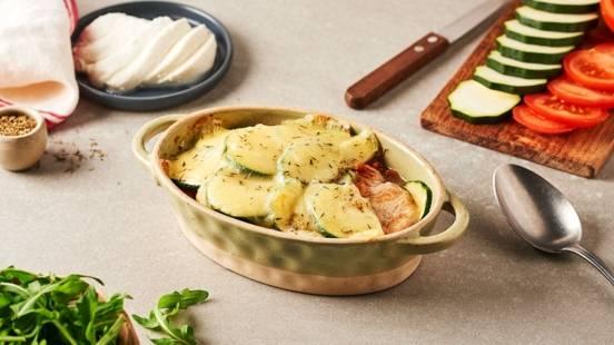 Poulet gratiné courgette-mozza